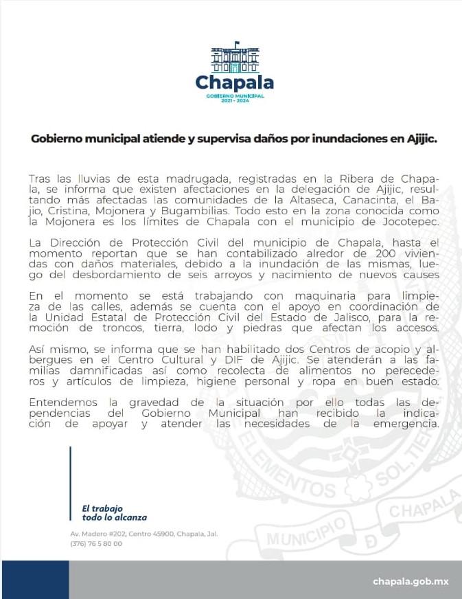 Comunicado de Prensa por parte del Gobierno Municipal de Chapala.